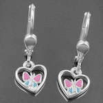 Earring Heart with Butterfly pink/blue, Silver 925