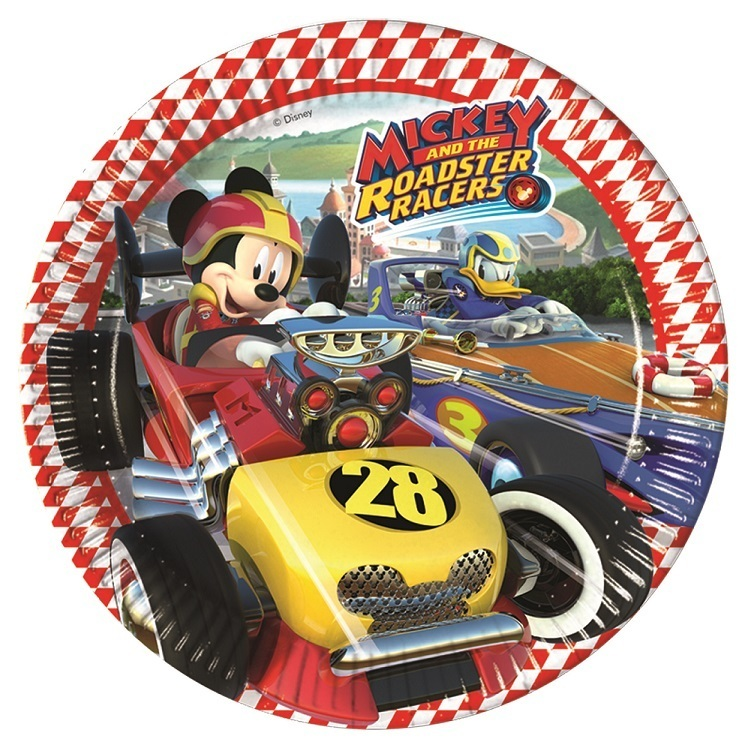 Mickey Roadster Plates 23cm 8 Pieces Morgenthalers Partyshop